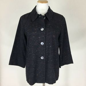 J Jill Women Blazer Cotton Blend Tweed Size S